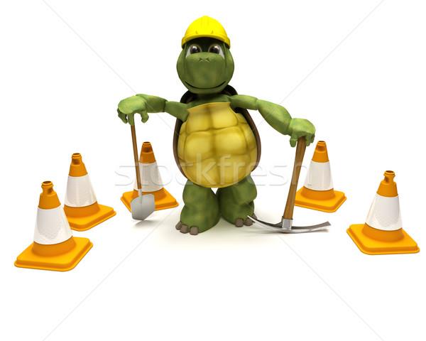 черепаха лопата топор опасность 3d визуализации воды Сток-фото © kjpargeter
