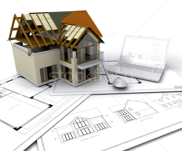 Photo stock: Maison · construction · plans · portable · stylo · maison
