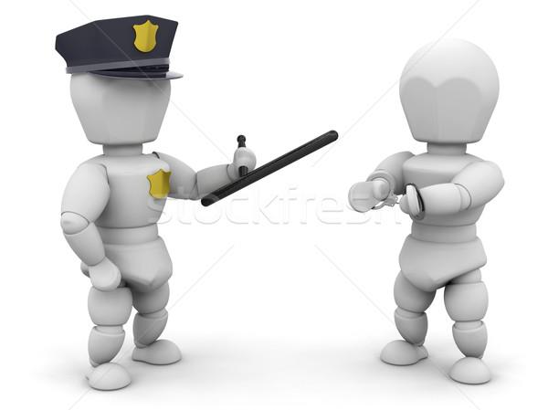 Arrestato rendering 3d poliziotto penale uomo legge Foto d'archivio © kjpargeter