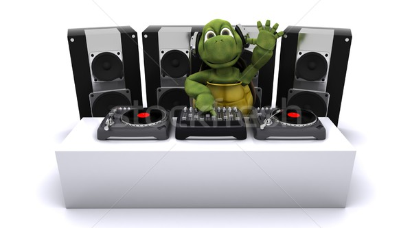 tortoise DJ mixing records on turntables Stock photo © kjpargeter