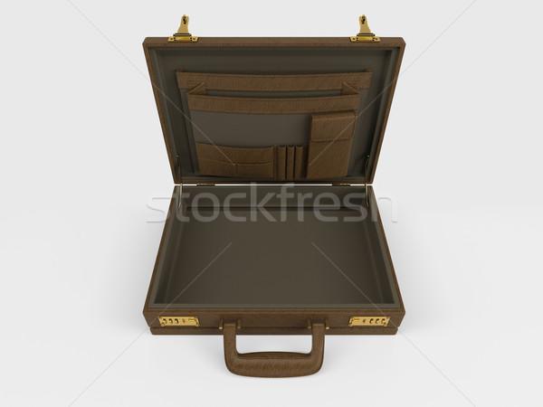 изолированный портфель белый 3d визуализации деньги бизнесмен Сток-фото © kjpargeter