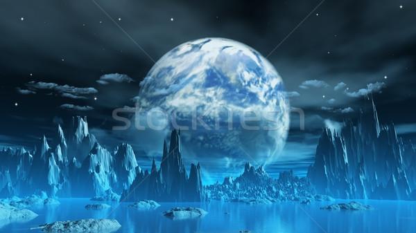 Weird ijs planeet 3d render aarde Stockfoto © kjpargeter