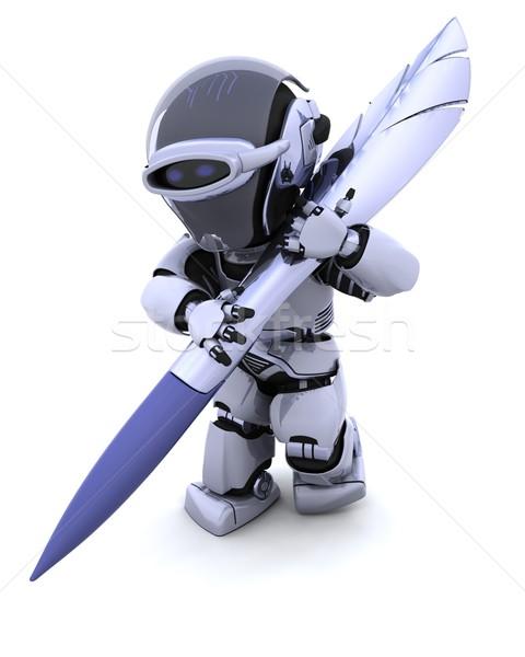 Robot pióro 3d piśmie podpisania przyszłości Zdjęcia stock © kjpargeter