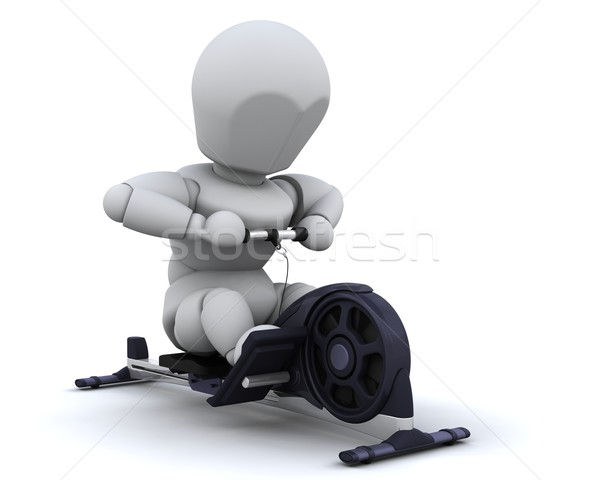Roeien machine 3d render man sport fitness Stockfoto © kjpargeter