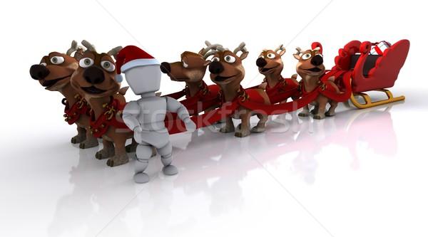santas sleigh and reindeer  Stock photo © kjpargeter