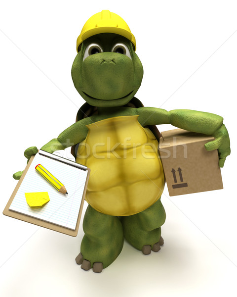 tortoise builder receiving a parcel Stock photo © kjpargeter