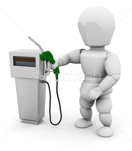 Személy benzinpumpa 3d render valaki nő ötlet Stock fotó © kjpargeter