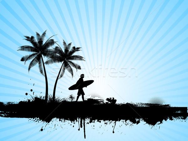 Stock fotó: Szörfözik · grunge · sziluett · szörfös · pálmafa · fa