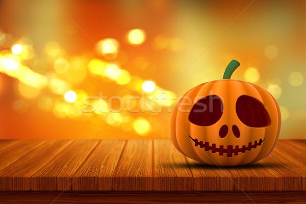 3D Halloween pumpkin on a wooden table with bokeh lights backgro Stock photo © kjpargeter