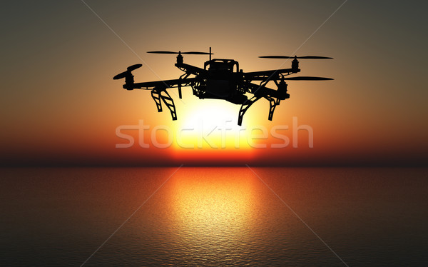 3D drone flying above a sunset sea Stock photo © kjpargeter