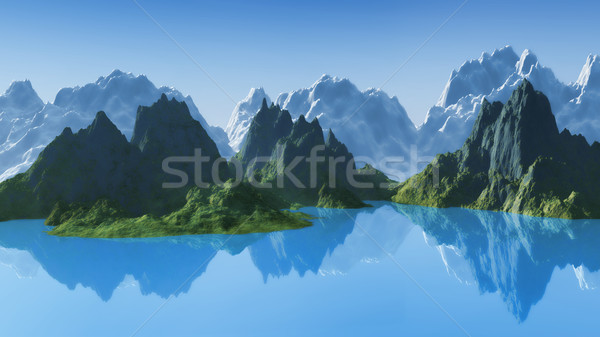 3D mountain landscape Stock photo © kjpargeter