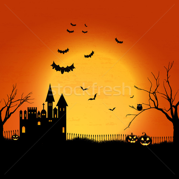 Haunted Halloween house background Stock photo © kjpargeter