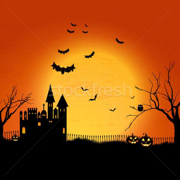 Kisértetjárta halloween ház tájkép temető háttér Stock fotó © kjpargeter
