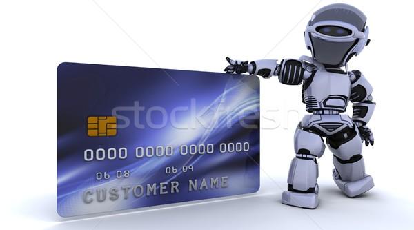 Cute robot cyborg rendering 3d soldi finanziare Foto d'archivio © kjpargeter