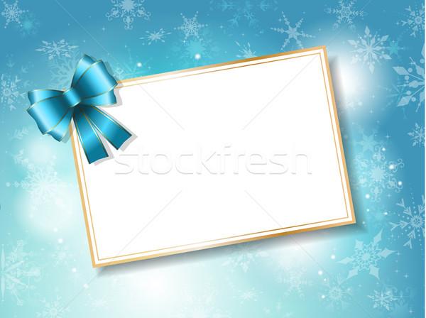 Navidad tarjeta de regalo azul arco copo de nieve estrellas Foto stock © kjpargeter