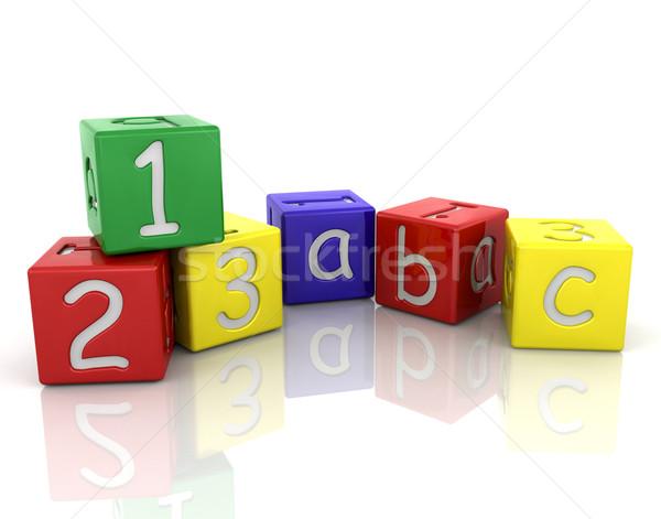 Tömbházak 3d render játék számok Stock fotó © kjpargeter