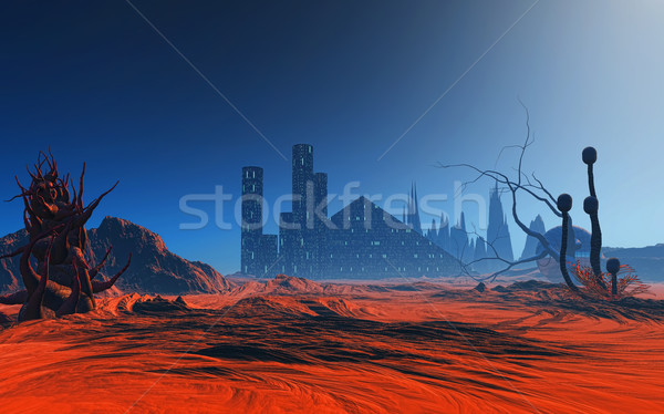 3D abstract vreemdeling planeet 3d render fantasie Stockfoto © kjpargeter