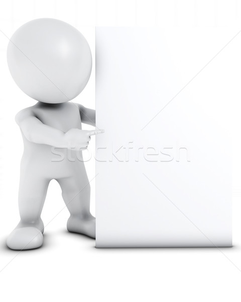 3D Morph Man with blank sign Stock photo © kjpargeter