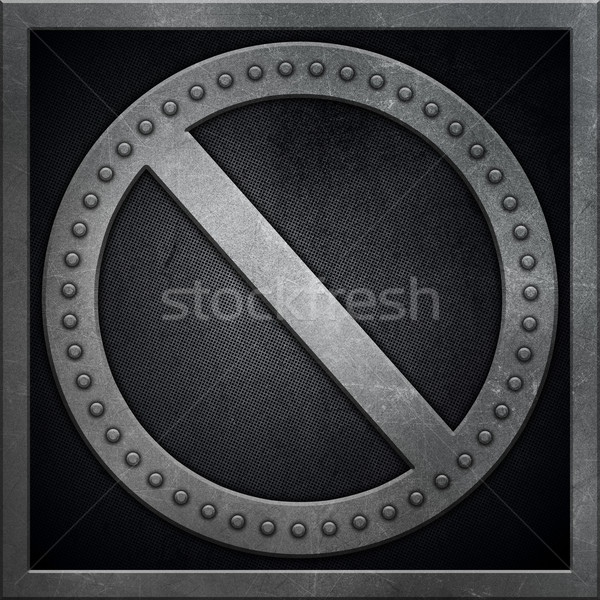 Abstract metallic background with no entry sign shape Stock photo © kjpargeter