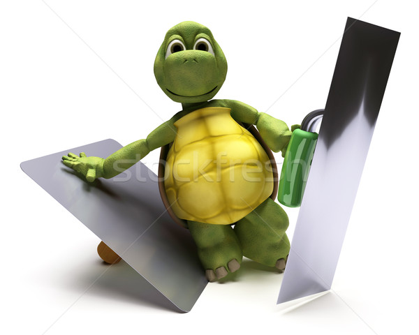Tortoise with plastering tools Stock photo © kjpargeter