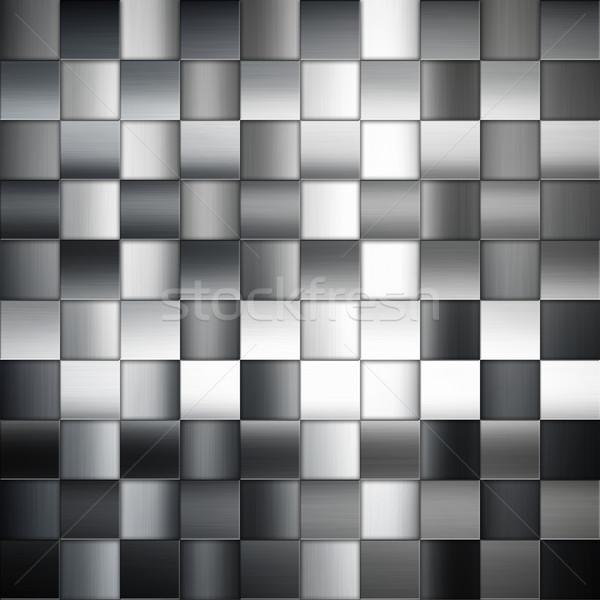 Stockfoto: Metaal · abstract · pleinen · patroon · zilver