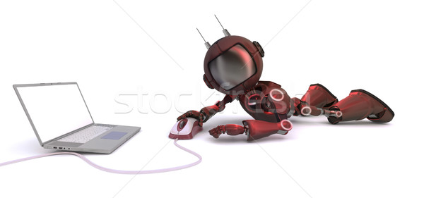 Android with laptop and computer mouse Stock photo © kjpargeter