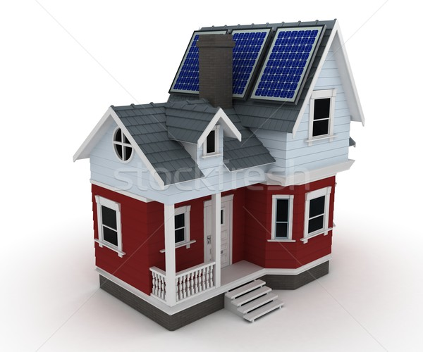 Stock photo: Solar panels on a house