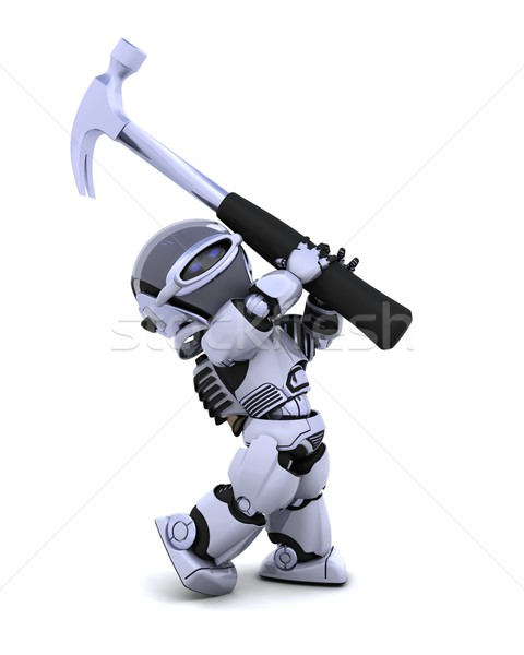 robot with hammer Stock photo © kjpargeter