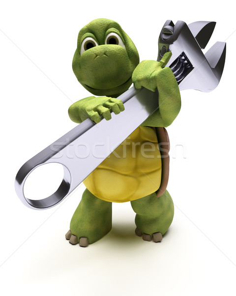Tortoise with a spanner Stock photo © kjpargeter