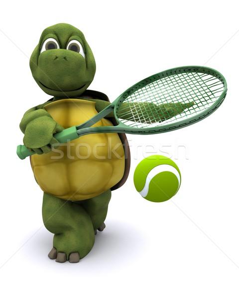черепаха играет теннис 3d визуализации воды спорт Сток-фото © kjpargeter