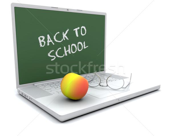 Сток-фото: Снова · в · школу · 3d · визуализации · яблоко · ноутбука · школы · студент