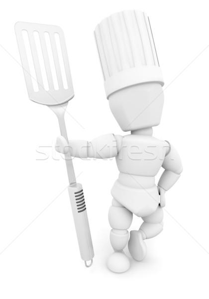 Chef spatule rendu 3d femme cuisine Cook Photo stock © kjpargeter