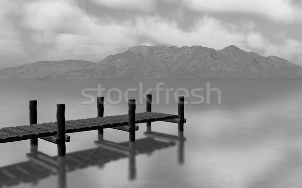3D black and white landscape with jetty Stock photo © kjpargeter