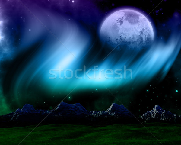 Abstract space scene with northern lights and fictional planet Stock photo © kjpargeter