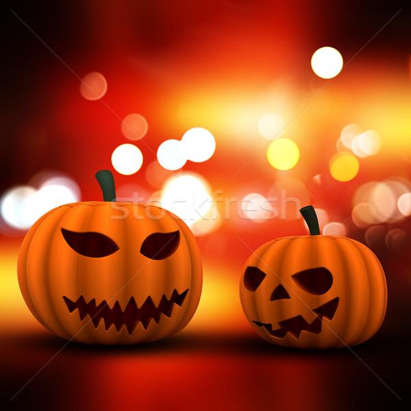 3D halloween pompoenen bokeh lichten Stockfoto © kjpargeter