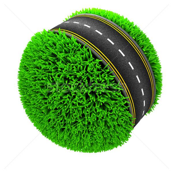 道路 周りに 草で覆われた 世界中 3dのレンダリング 草 ストックフォト © kjpargeter