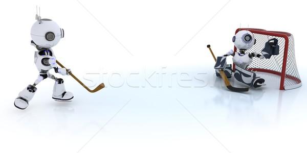 Robotok játszik jégkorong 3d render férfi sport Stock fotó © kjpargeter