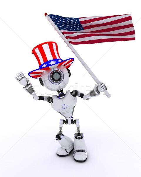 Robot ünnepel negyedike 3d render férfi csillagok Stock fotó © kjpargeter