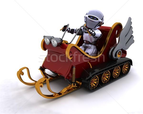 Robot szánkó 3d render férfi hó jövő Stock fotó © kjpargeter