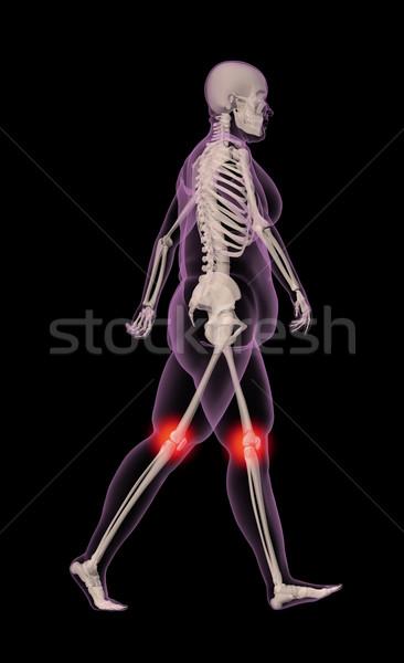 太り過ぎ 女性 徒歩 3dのレンダリング インテリア 痛み ストックフォト © kjpargeter
