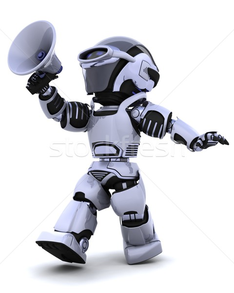 robot shouting into bullhorn Stock photo © kjpargeter