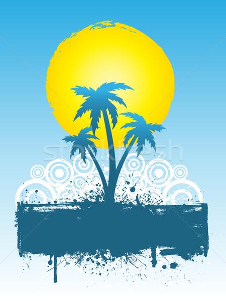 Сток-фото: Гранж · пальмами · пальма · дерево · аннотация · силуэта