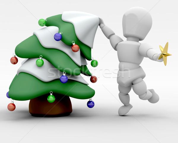ツリー 3dのレンダリング 男 星 クリスマスツリー クリスマス ストックフォト © kjpargeter