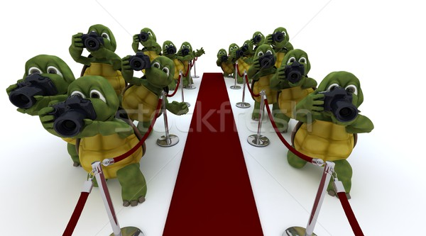 Tortue paparazzi tapis rouge rendu 3d Photo stock © kjpargeter