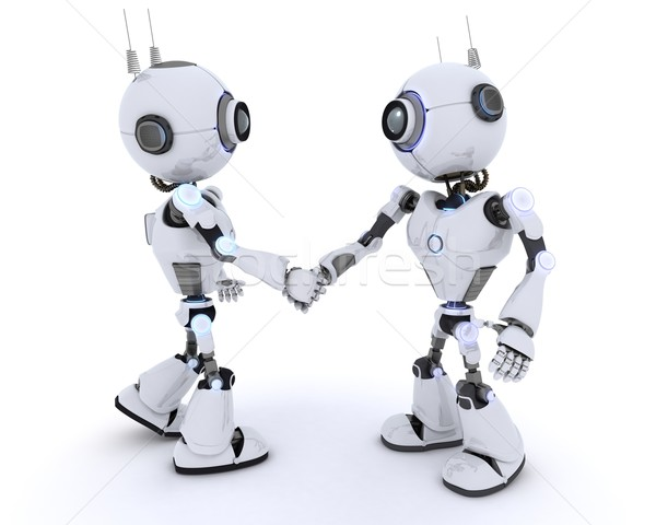 Robots shaking hands Stock photo © kjpargeter