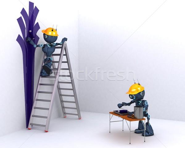 Android festő 3d render férfi fal otthon Stock fotó © kjpargeter