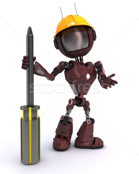 Robot constructeur tournevis rendu 3d homme construction Photo stock © kjpargeter