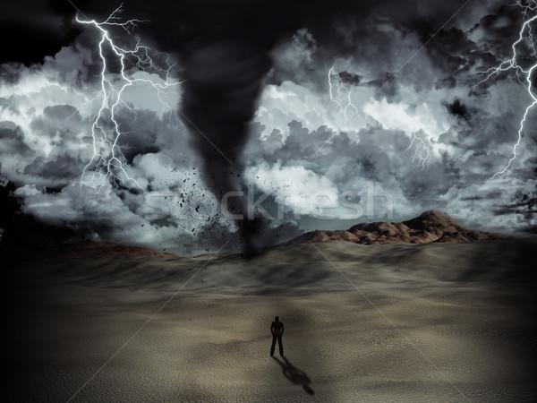 Tornádó vihar sziluett férfi sivatag villám Stock fotó © kjpargeter