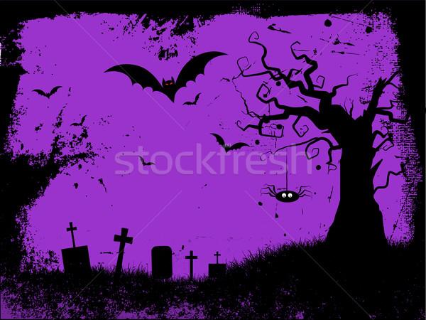 Grunge halloween stylu drzewo krzyż Zdjęcia stock © kjpargeter