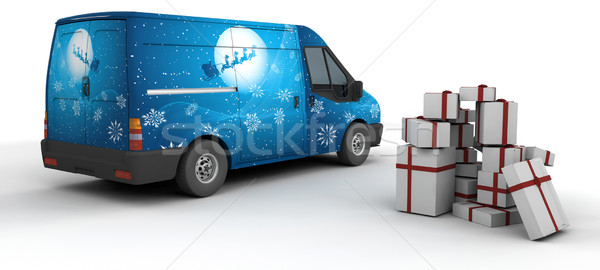 Karácsony kisteherautó 3d render izolált fehér házhozszállítás Stock fotó © kjpargeter